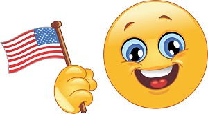 Waving American Flag Emoji 37 Decal